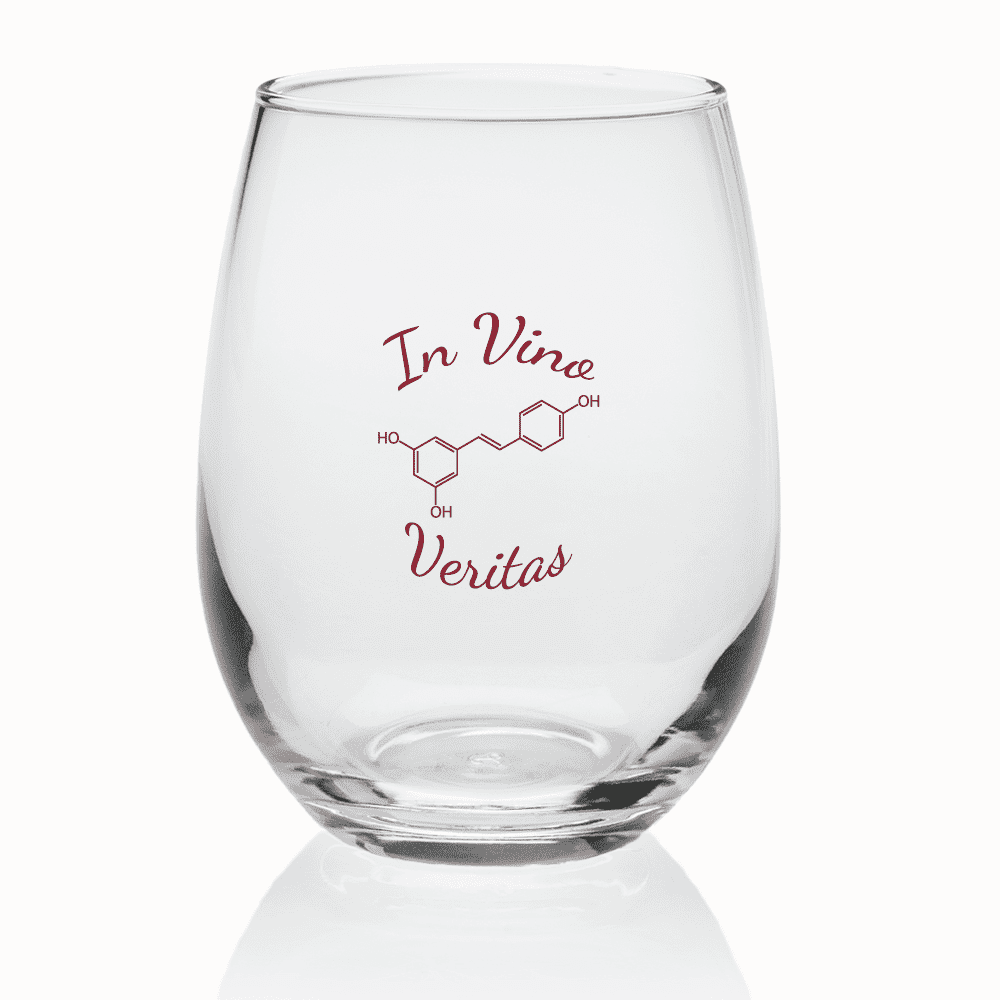 Stemless Wine Glasses 9 Oz With Resveratrol Structure In Vino